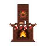 Kerstmisopen haard in kleurrijke beeldverhaal vlakke stijl Melk en cakes, kousen Vector Vrolijke Kerstmis en Gelukkig Nieuwjaar Stock Afbeelding