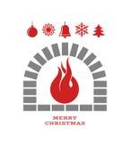 Kerstmisopen haard met brand Stock Afbeeldingen