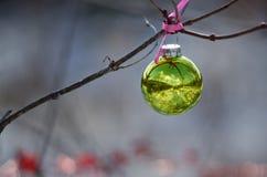 Kerstmisornament die een Openluchtboom verfraaien die op Sneeuwscène wijzen Royalty-vrije Stock Fotografie