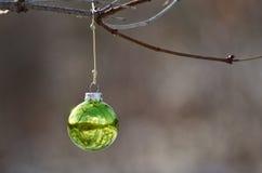 Kerstmisornament die een Openluchtboom verfraaien die op Sneeuwscène wijzen Stock Afbeeldingen