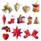 Kerstmisornament, op witte achtergrond wordt geïsoleerd die Royalty-vrije Stock Foto's