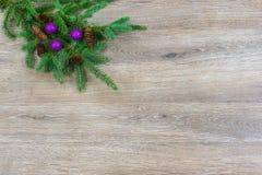 Kerstmisornamenten en denneappels op een nette boeg met exemplaar s royalty-vrije stock foto