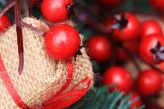 Kerstmisornamenten, granaatappels royalty-vrije stock afbeelding