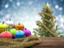 Kerstmisornamenten met lege ruimte op blauwe achtergrond Stock Foto