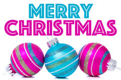 Kerstmisornamenten op witte achtergrond met Stock Fotografie