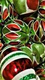 Kerstmisornamenten in rood, wit en groen Royalty-vrije Stock Fotografie