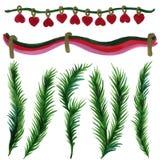 Kerstmisornamenten van de takken met waterverf op witte achtergrond worden geschilderd die stock illustratie