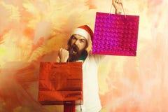 Kerstmispakket of het winkelen pak stock foto