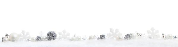 Kerstmispanorama op wit stock afbeelding