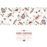 Kerstmispatroon en groetkaart Royalty-vrije Stock Afbeelding