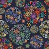 Kerstmispatroon, kleurrijke sneeuwvlokken royalty-vrije illustratie