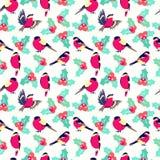 Kerstmispatroon met de hulst van bladerenbessen en vogelsgoudvink stock illustratie