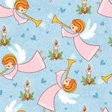 Kerstmispatroon met engelen die de trompet spelen stock illustratie