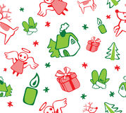 Kerstmispatroon met Engelen en Giften stock illustratie