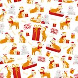 Kerstmispatroon met honden en giften Nieuwjaar 2018 naadloos patroon met geel hondsymbool van Chinese Nieuwjaarvector Stock Fotografie