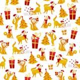 Kerstmispatroon met honden en giften Nieuwjaar 2018 naadloos patroon met geel hondsymbool van Chinese Nieuwjaarvector Stock Foto