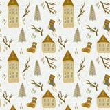 Kerstmispatroon met huizen royalty-vrije illustratie