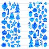Kerstmispatroon met Kerstmiselementen, ballen, decoratie Vrolijke Kerstmis en de Gelukkige Nieuwe Vakantie van de jaarhulst heel royalty-vrije illustratie
