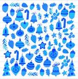 Kerstmispatroon met Kerstmiselementen, ballen, decoratie Vrolijke Kerstmis en de Gelukkige Nieuwe Vakantie van de jaarhulst heel stock illustratie