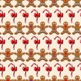 Kerstmispatroon met naadloze gember de mens Stock Fotografie