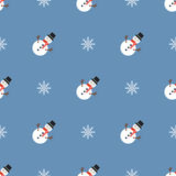 Kerstmispatroon met sneeuwmannen en sneeuwvlokken Royalty-vrije Stock Fotografie