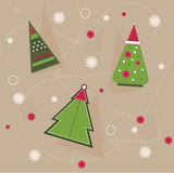 Kerstmispatroon van geometrische sparren met rode cirkels en sneeuwvlokken Royalty-vrije Stock Afbeelding