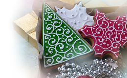 Kerstmispeperkoek in doos Royalty-vrije Stock Afbeeldingen