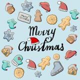 Kerstmispeperkoek, koekjes De inschrijving royalty-vrije illustratie
