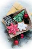 Kerstmispeperkoeken in de vorm van Kerstmissymbolen Royalty-vrije Stock Foto