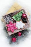 Kerstmispeperkoeken in de vorm van Kerstmissymbolen royalty-vrije stock afbeeldingen