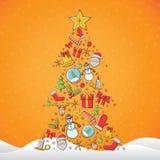 Kerstmispictogram in pijnboomvorm met gele achtergrond stock afbeelding