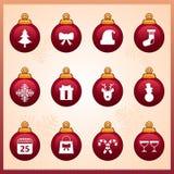 Kerstmispictogrammen Stock Fotografie