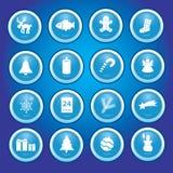 Kerstmispictogrammen in blauwe cirkelsinzameling Stock Afbeeldingen