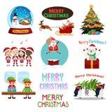 Kerstmispictogrammen en Cliparts Royalty-vrije Stock Afbeeldingen