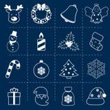 Kerstmispictogrammen geplaatst overzicht Royalty-vrije Stock Fotografie