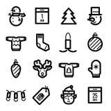 Kerstmispictogrammen - Herten, kortingen en decoratie Stock Foto