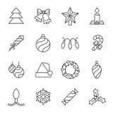 Kerstmispictogrammen - Kerstboom en decoratie Royalty-vrije Stock Afbeeldingen