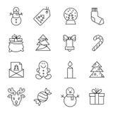 Kerstmispictogrammen - Kerstmisboom, sneeuwman en giften vector illustratie
