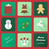Kerstmispictogrammen met lang schaduweffect Stock Foto