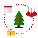 Kerstmispictogrammen op witte achtergrond Stock Fotografie