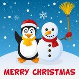 Kerstmispinguïn en Sneeuwman Stock Afbeeldingen