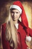 Kerstmisportret van maniermeisje stock foto's