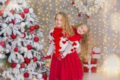Kerstmisportret van twee beautyful leuke meisjes die zustersvrienden en de groene witte boom van de Kerstmisluxe in unieke binnen Stock Foto