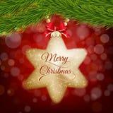 Kerstmisprentbriefkaar met gouden ster op rode bokeh Royalty-vrije Stock Afbeelding