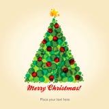Kerstmisprentbriefkaar met Kerstboom Stock Afbeeldingen
