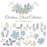 Kerstmisreeks bloemenelementen Royalty-vrije Stock Afbeeldingen