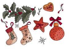 Kerstmisreeks de winterelementen vector illustratie