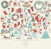 Kerstmisreeks hand getrokken krabbels in eenvoudige grafische stijl Vector kleurrijke illustratie met Kerstmistoebehoren als Kers Stock Foto