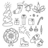 Kerstmisreeks hand getrokken krabbels in eenvoudige stijl vectorcontourillustratie Stock Afbeelding