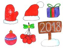 Kerstmisreeks tekeningen in waterverf Stock Fotografie